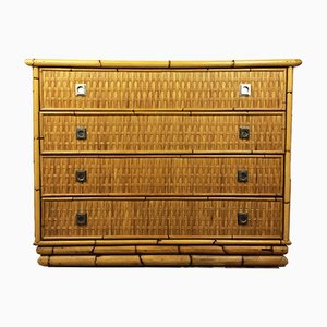 Bamboo Rattan and Brass Chest of Drawers by Dal Vera, Italy, 1960s