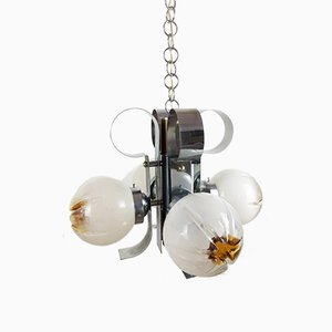 Curved Steel and Frosted Glass Chandelier from Mazzega, 1970s