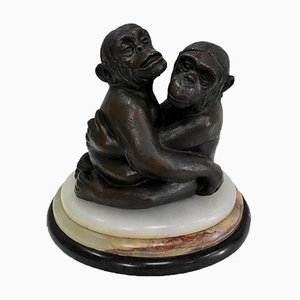 Mid-Century Bronze Chimps Sculpture by Locatelli for Brazil Art