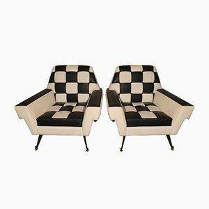Optical Lounge Chairs, 1960s, Set of 2
