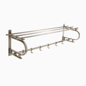 Nickel-Plated Brass Art Deco Bauhaus Style Coat Rack, 1930s