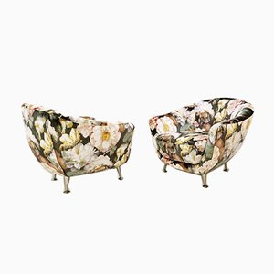 Italian Lounge Chairs With New Floral Velvet Upholstery, 1970s, Set of 2