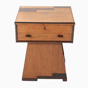 Oak Art Deco Hague School Sewing Table by P.E.L. Iron Mill for Genneper