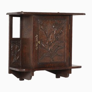 Oak Arts & Crafts Art Nouveau Wall Cabinet with Calla Lilies, 1900s