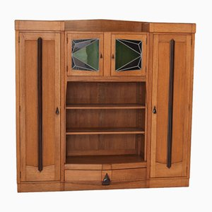 Oak Art Deco Amsterdam School Bookcase with Stained Glass, 1920s