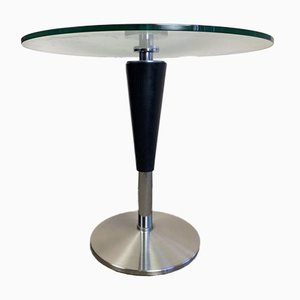 Italian Round Coffee Table with Tapered Leg & Glass Top, 1980s
