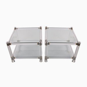 Hollywood Regency Plexiglass Coffee Tables With Glass Top, Set of 2