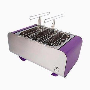 Barbecue Charbon Transportable Violet avec Cuisson Compacte Verticale de MYOP