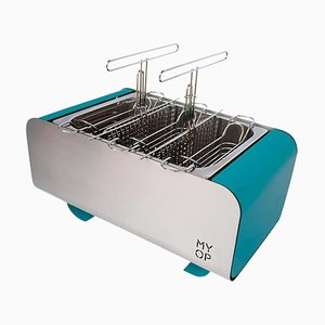 Teal Transportable Charcoal Barbecue with Compact Vertical Cooking from MYOP