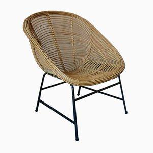 Mid Century Rattan and Iron Pod Chair, 1960s