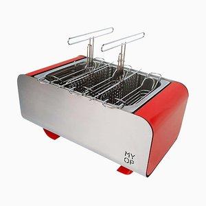 Barbacoa portátil de carbón en rojo con superficie de cocción compacta de MYOP