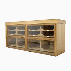 Vintage Oak & Glass Haberdashery Cabinet