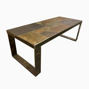 Mid-Century Brutalist Steel and Slate Coffee Table, 1960s