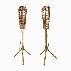 Mid-Century Floor Lamps in Bamboo and Wicker, Set of 2