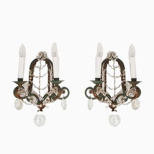 Italian Iron & Glass Sconces, Set of 2