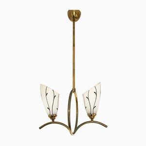 Italian Brass Glass Pendant Lamp, 1950s