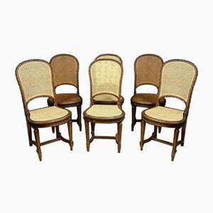 Louis XVI Walnut & Cane Dining Chairs, Set of 6