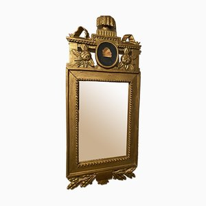 Gustavian Mirror with Portrait in Oil, 1800s