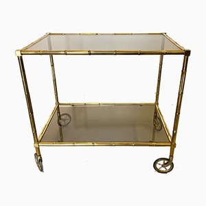 Vintage Faux Brass and Bamboo Trolley
