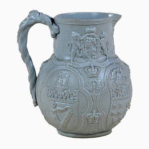 Victorian Blue-Grey Stoneware Four Nations Albion Jug from William Brownfield, 1863