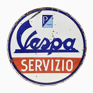 Italian Enamel Double-Sided Vespa Piaggio Servizio Sign, 1950s