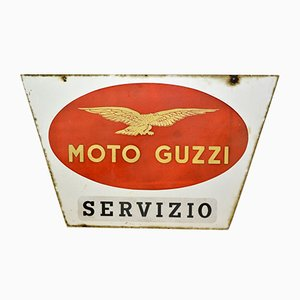 Cartel Moto Guzzi Servizio italiano vintage de dos caras de metal esmaltado, años 50