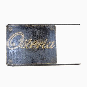 Vintage Italian Hand-Painted Double-Sided Blade Osteria Restaurant Sign, 1920s