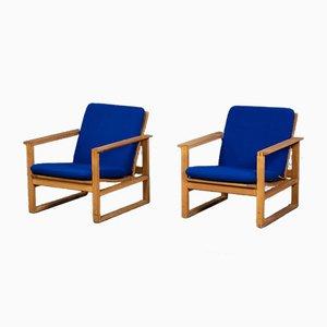 Vintage Sled Sessel aus Eichenholz von Børge Mogensen für Fredericia, 1970er, 2er Set