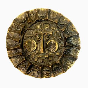 Handcrafted Bronze Sun King Relief by Otto Kopcsanyi, 1970s