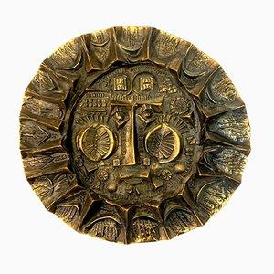 Handgefertigtes Bronze Sonnenkönig Relief von Otto Kopcsanyi, 1970er