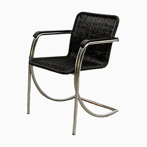 Black Stained Wicker Armchair, 1970s