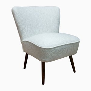 Mid-Century White Boucle Club Chair