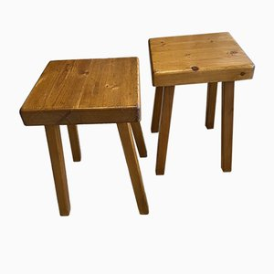 Mid-Century Square Stools by Charlotte Perriand, 1969, Set of 2