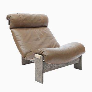 Dreibeiniger Sessel aus Eiche, Leder & Leinen, 1976