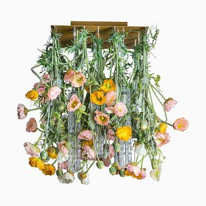 Champagne Murano Glass Square Poppy Flower Power Chandelier from VGnewtrend