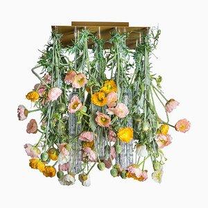 Quadratischer Champagnerfarbener Murano Glas Mohnblumen Power Kronleuchter von VGnewtrend