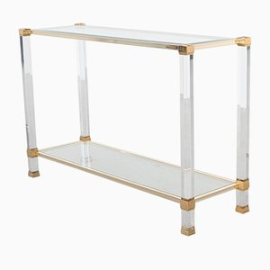 Lucite & Brass Paris Console Table by Pierre Vandel, 1970s