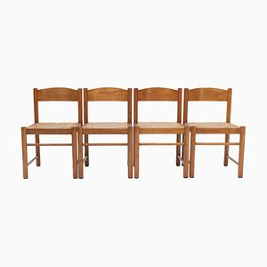 Natural Oak Dining Chairs Attributed to Vico Magistretti, 1960s, Set of 4