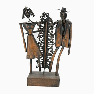 Handmade Copper Just Married Sculpture by Robert Jajesnica, 1970s