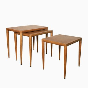 Danish Oak Wood Nesting Tables, 1960s, Set of 3