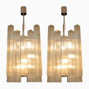 Large Vintage Glass Chandeliers from Doria Leuchten, 1960s, Set of 2