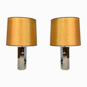 German Sculptural Chromed Table Lamps by Ingo Maurer for Design M, 1960s, Set of 2