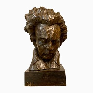 Mid-Century Wood Carving Beethoven Bust by Charles Auffret