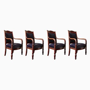 Antique Empire Mahogany Veneer & Leather Dining Chairs, Set of 4