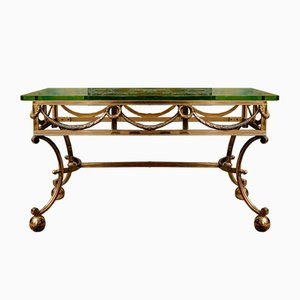 Mid-Century Gilded Solid Bronze Coffee Table by Rene Bollinger for Maison Ramsay