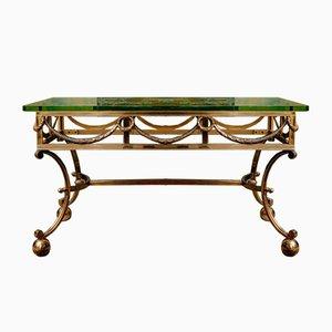 Tavolino da caffè Mid-Century in bronzo dorato e massiccio di Rene Bollinger per Maison Ramsay