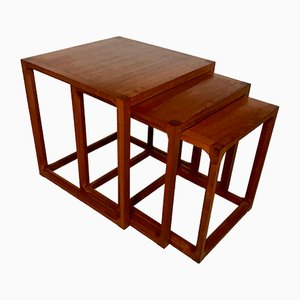 Danish Minimalist Cube Teak Nesting Tables by Aksel Kjersgaard 1960s, Set of 3