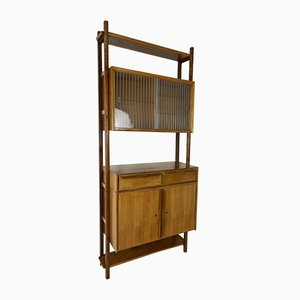 Mid-century Scandinavian Blonde Teak Wall Unit, 1950s