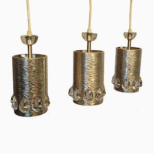 Lampadari Mid-Century in cristallo di Palwa, set di 3