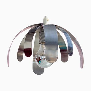 Modern Chrome & Bent Stainless Steel Ceiling Lamp, 1970s